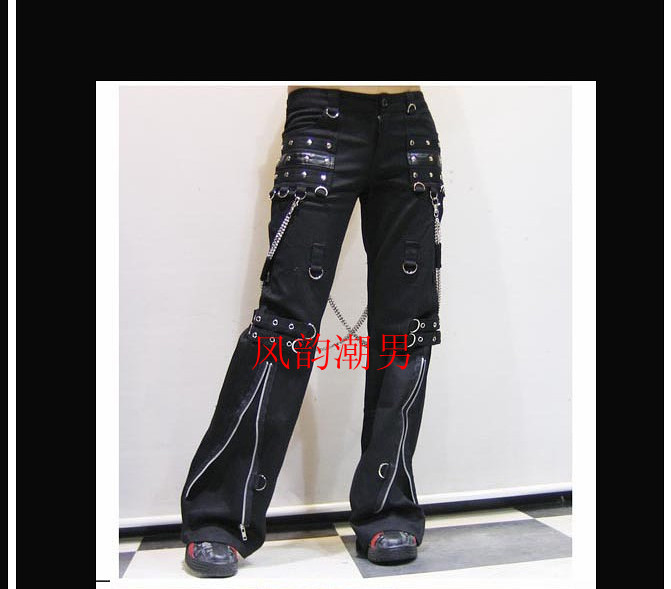 Trousers Clothing Street Men's Fashion Style Rivet Bell GD Gas Hair-Stylist Punk-Zip