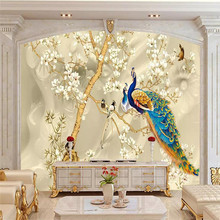 Custom 3d mural peacock magnolia TV background wall decoration painting wallpaper photo