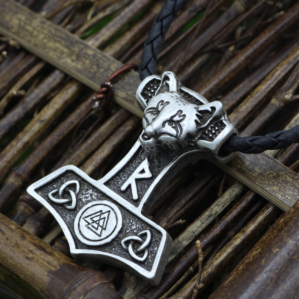 Nordic Viking Thor Marteau Collier Pendentif Vikings Cosplay Mjolnir Bracelet
