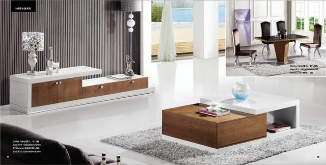 Wit en hout kleur meubels Woonkamer Salontafel en TV Cabinet Set ...