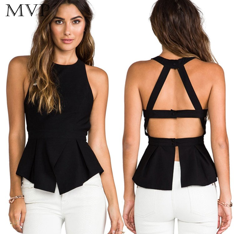 Sexy Tank Tops Women 2018 Camis Sleeveless Backless O-neck Party Leisure Solid Chiffon Blusas Black Tank Top