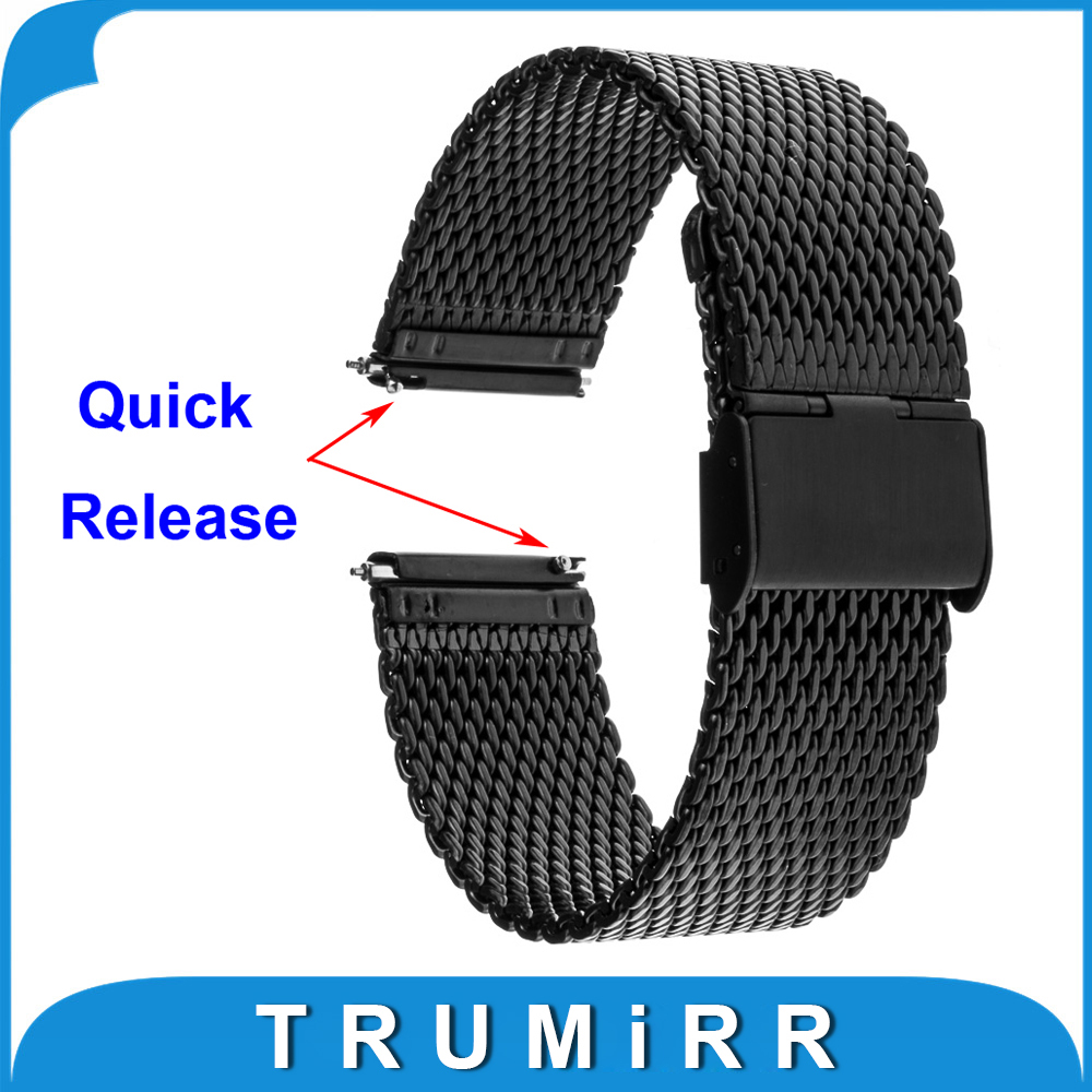 20mm Quick Release Milanese Watch Band for Samsung Gear S2 Classic (SM-R7320) Moto 360 2 42mm Men Stainless Steel Bracelet Strap 8 32mm 22pieces metric chrome vanadium crv quick release reversible ratchet combination wrench set gear wrench spanner