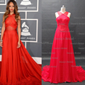 Red Sheer Evening Dresses Inspired by Rihanna 55th Grammy Awards A Line Red Carpet Celebrity Dresses Crisscross Back Real Image