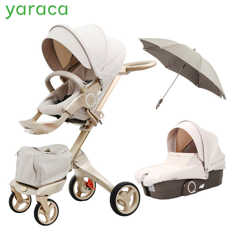 Luxury Baby Stroller High Landscape Portable Baby Carriages Folding Prams For Newborns Travel System 2 in 1