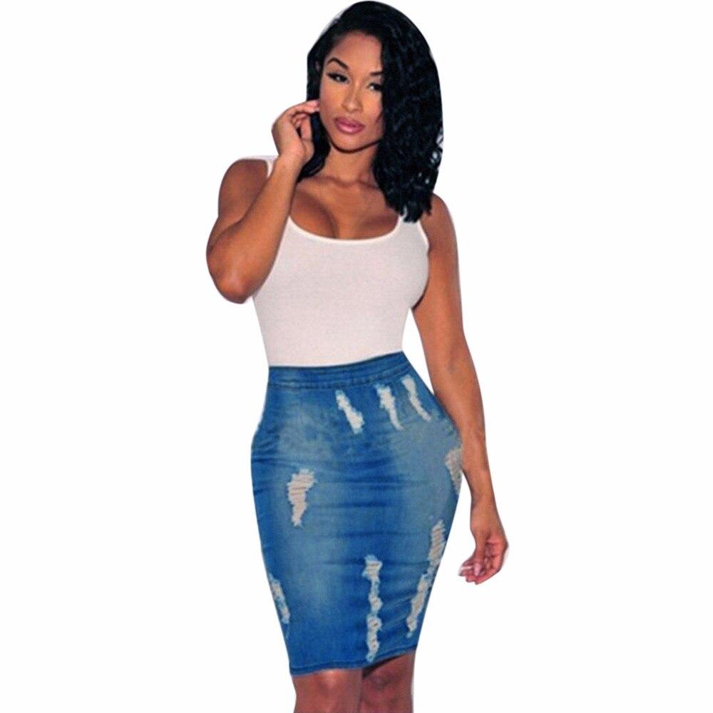 Feitong 2018 Frauen Stretch Bodycon Beiläufiges Bleistift Rock Frauen Hohe Taille Hohe Taille Loch Jeans Weibliche Mini Saia Rock