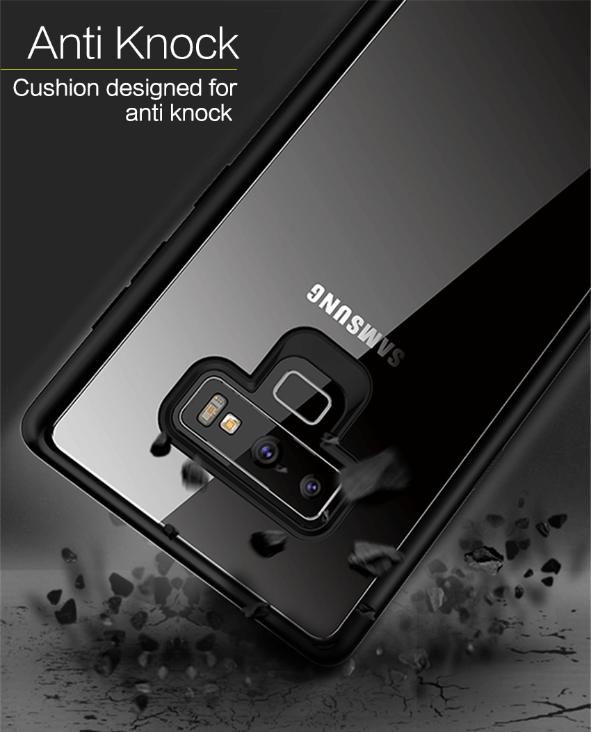 For Samsung Galaxy Note 9 Note9 Case Soft Tpu Transparent Pc Back Tempered Glass Premium Screen Protector 9h Untuk J3 Pro Free I Ringclear 1 2 3 4