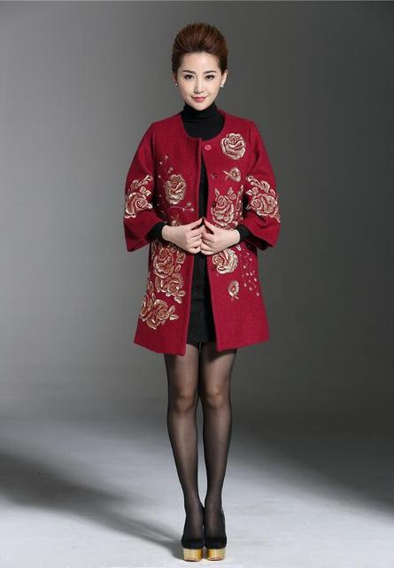 da80e36343b New Arrival Plus Size 4XL Women Winter Flower Embroidery Wool Coat High  Quality Elegant O-Neck Covered Button Long Overcoat