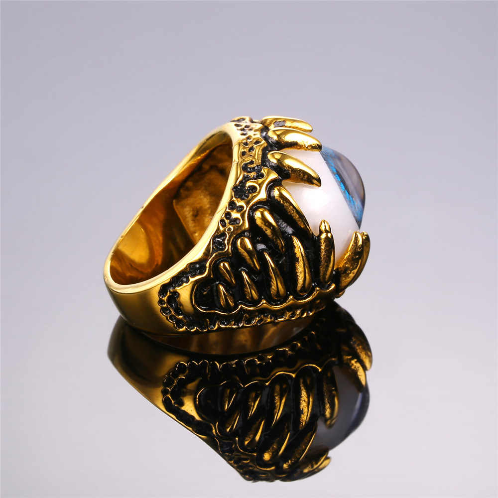 U7 Biker แหวน Amulet Gold สีตุรกีสแตนเลส Eye Rock Punk Men เครื่องประดับของขวัญ Illuminati แหวนอินเทรนด์ R348
