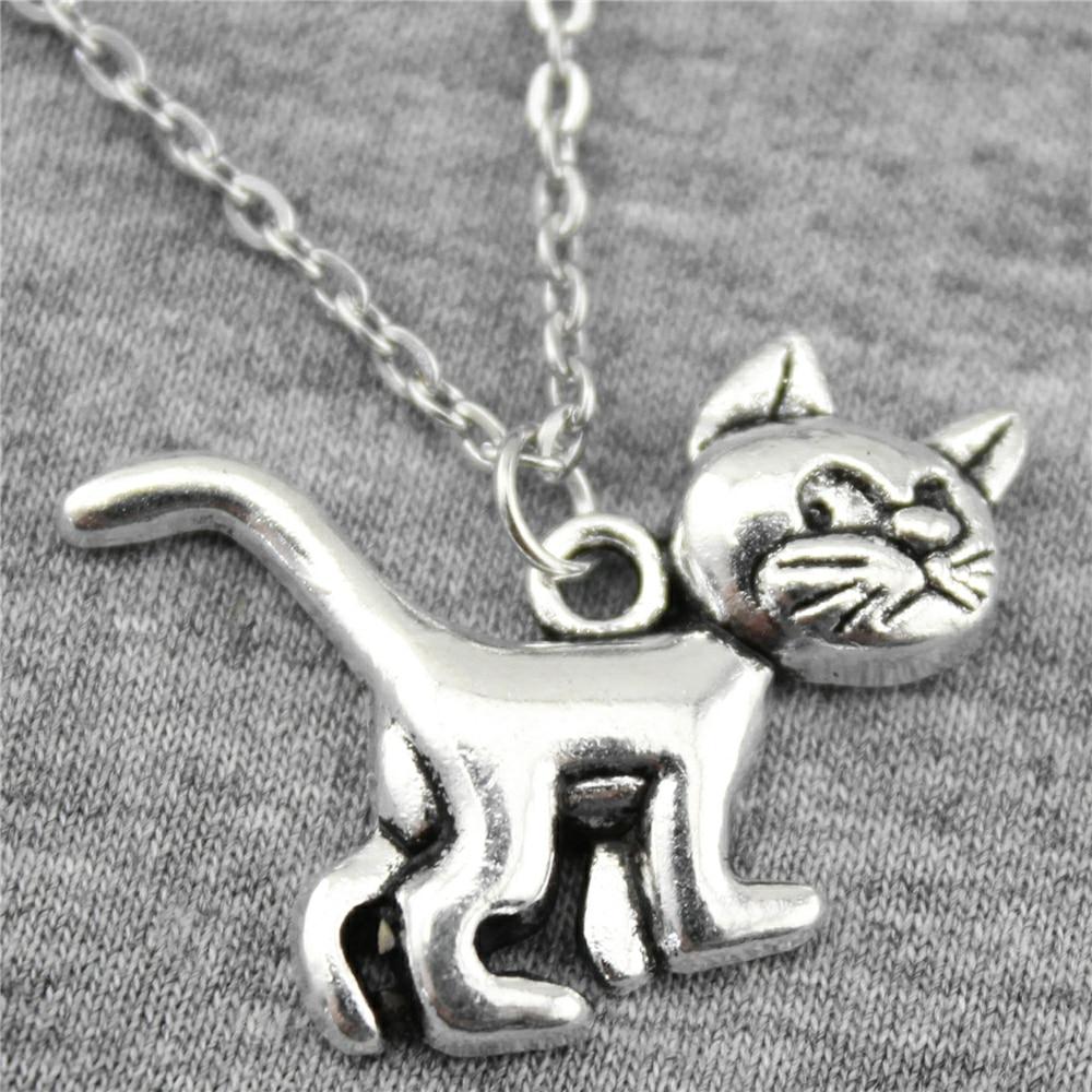 WYSIWYG 30x22mm Lucu Kucing Liontin Kalung Perhiasan, Handmade Kalung Hadiah Untuk Wanita Perhiasan Dropship
