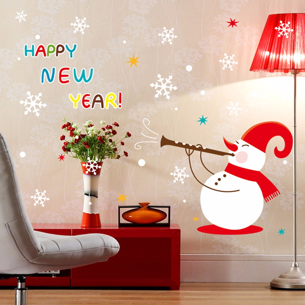 online get cheap christmas snow wallpaper aliexpress com 135 100cm home decor stickers happy new year christmas snow human wall sticker art decals