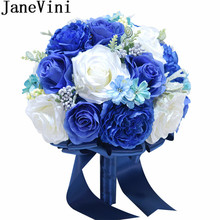JaneVini 2018 New Royal Blue Flowers Silk Wedding Bouquet for Brides Artificial Rose Crystal Bridal Holder Blumenstrauss