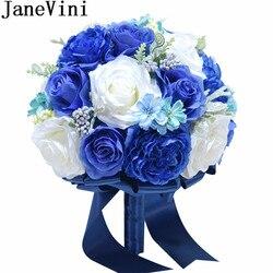 JaneVini 2018 New Royal Blue Flowers Silk Wedding Bouquet for Brides Artificial Rose Crystal Bridal Bouquet Holder Blumenstrauss