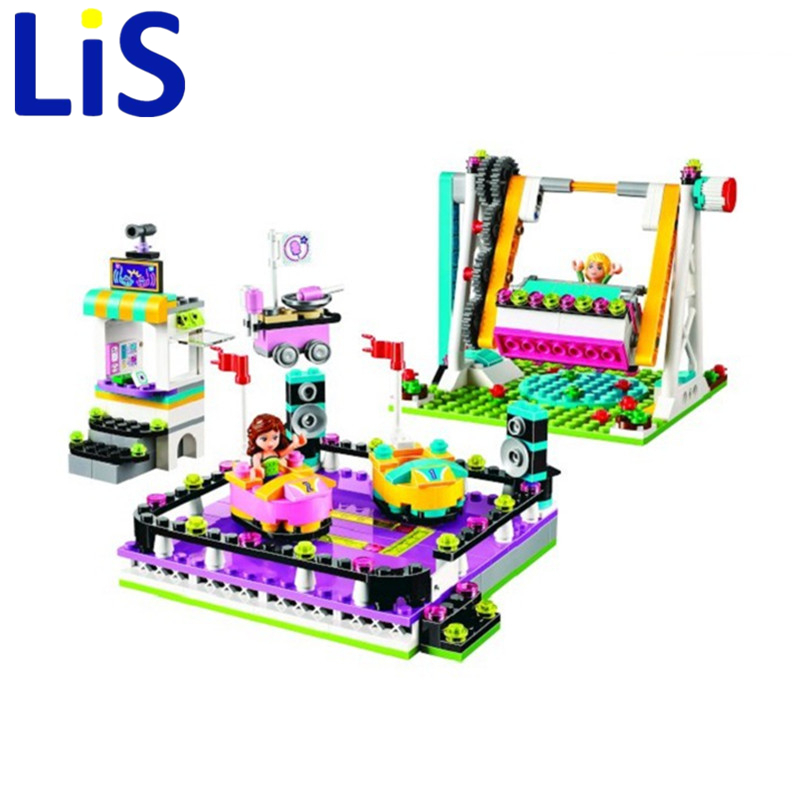 Lis Bela 10560 Amusement Park Bumper Cars building Blocks Bricks Toys Girl Game Toys for children House Gift Lepin 41133 10162 friends city park cafe building blocks bricks toys girl game toys for children house gift compatible with lego gift