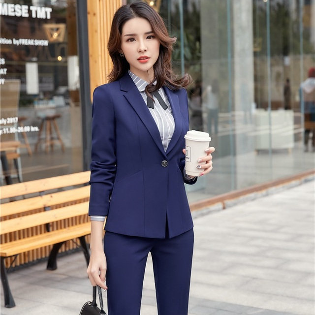 9672f4fd7dd 2018 New Styles Navy Blue Formal Pantsuits Women Business Blazers Suits  With Jackets And Pants For Ladies Office Sets