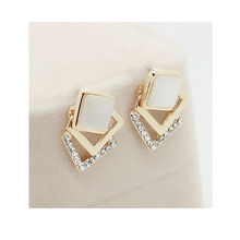 Grace Jun(TM)High Quality Square Shape Opal Rhinestone Clip on Earrings Without Piercing for Women Party Luxury Jewelry Ear Clip