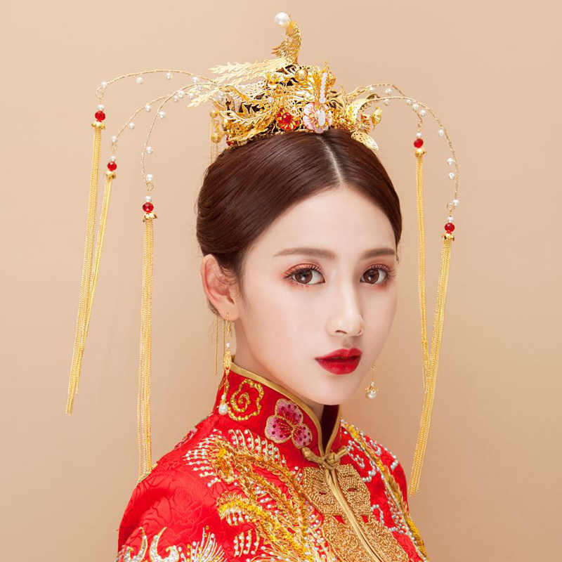 d3aed51f1 ... HIMSTORY Chinese Vintage Gold Phoenix Peacock Coronet Hair Accessories  Wedding Headpieces Long Tassel Bridal Queen Hair ...