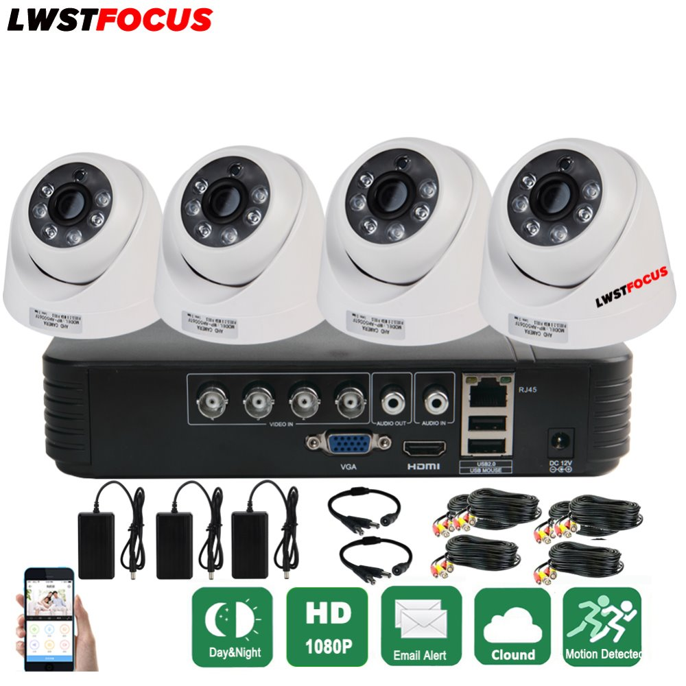 Full HD 1080P 4CH AHD 5 IN 1 Security DVR System HDMI 1920*1080P 4pcs AHD Dome Cameras CCTV Camera 2.0MP AHD Surveillance Kit security camera system hd 4ch cctv system 1080p hdmi ahd dvr 2pcs 720p 1080p ahd cameras cctv ir outdoor surveillance system