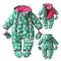 Новый 2016 Осень/Зима хлопка Младенца Rompers мальчик девочка зеленый цветочный комбинезон с длинными рукавами новорожденных утолщение тепловой одежда