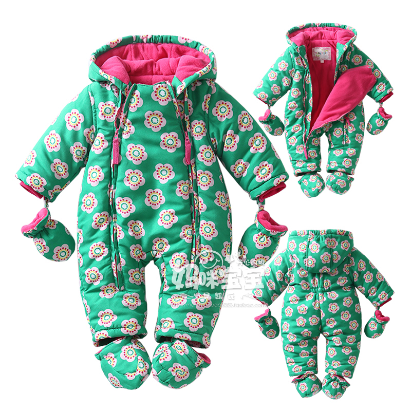 New 2017 Autumn/Winter Baby cotton Rompers boy girl green flower jumpsuit  long sleeved  newborns thickening thermal clothing new 2017 autumn winter baby rompers clothes long sleeved coveralls for newborns boy girl polar fleece baby clothing 3 12m 004