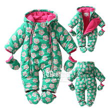 New 2017 Autumn/Winter Baby cotton Rompers boy girl green flower jumpsuit  long sleeved  newborns thickening thermal clothing