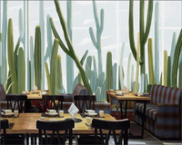 Beibehang Modern Art Wallpaper Hand Painted Cactus Hand Painted Flower Plant Family Living Room Interior 3D