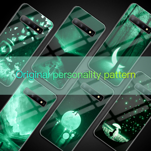 Image 5 - Luxus Luminous Gehärtetem Glas Telefon Fall Night Glow Telefon Zurück Abdeckung Für Galaxy S7 8 9 10 Plus Hinweis 8 9 10e Fall Coque Funda
