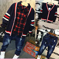 Baby boy V neck sweater 2016 Korean version of the new autumn and winter boys kids England plaid shirt +fleece ripped hole jeans
