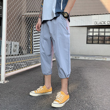 Solid Color Calf-Length Pants Straight Mens Elastic Waist Large Size Black Gray Khaki Blue