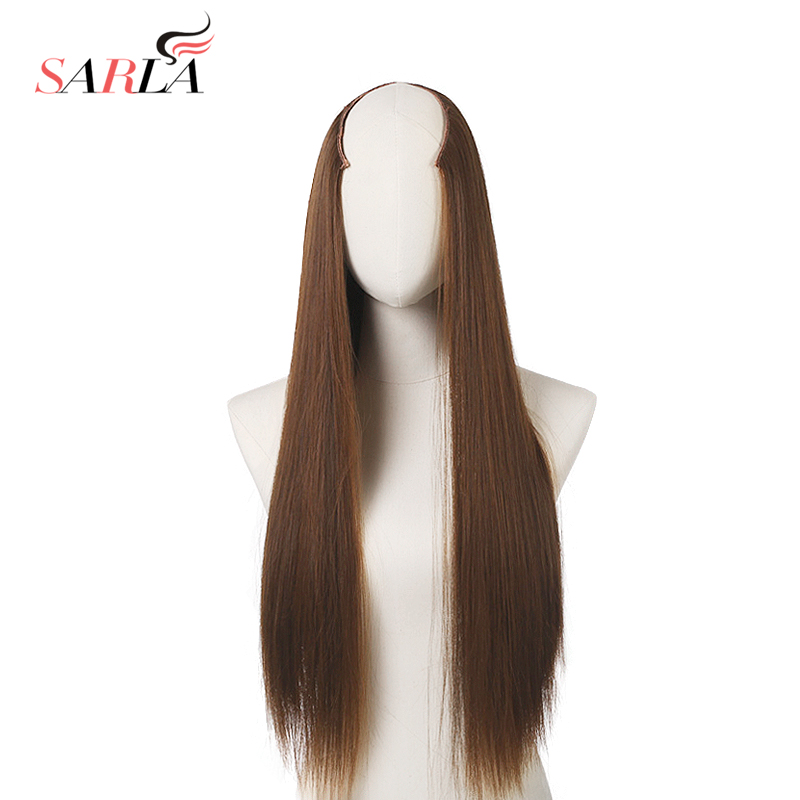 SARLA 50pcs lot 60cm 24 Long Straight Clip in U Part Hair Extensions High Temperature Fiber