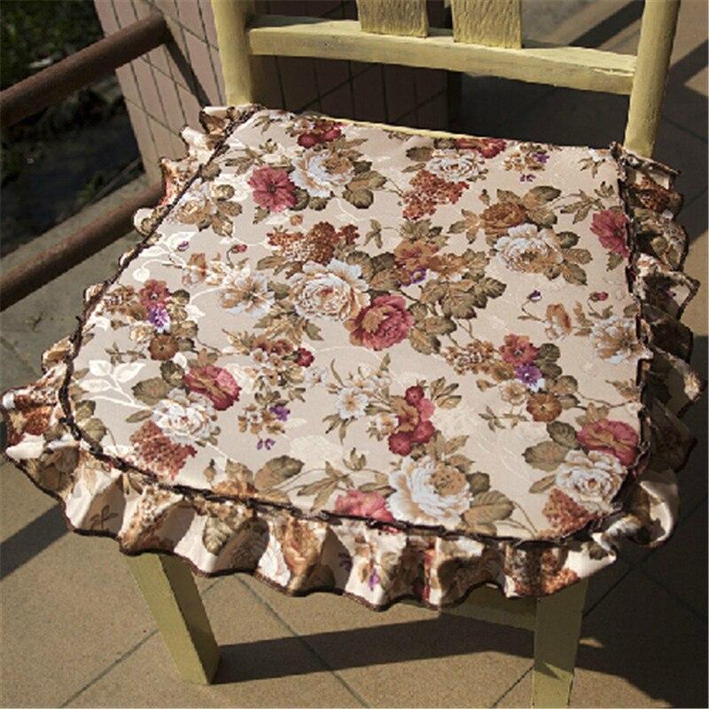2 PÇS/LOTE Graden escritório Floral Pastoral rústico Rendas Pano cadeira Almofada Do Assento pad decoração de casamento têxtil de casa Navio Livre