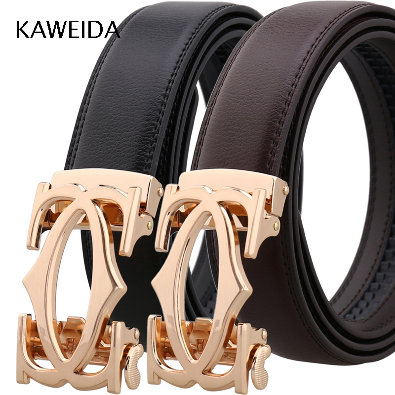 KAWEIDA 2018 Fashion Gold Hollow Metal Automatic Buckle   Belt   Cowskin Genuine Leather   Belts   for Men Designer Letter H Kemer Riem