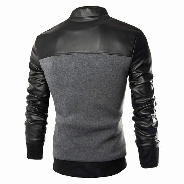 Sweatshirts Fashion Design PU Leather Patchwork Jacket Men Single Breasted Casual Stand Collar Jacket Coat Plus Size M-XXXL
