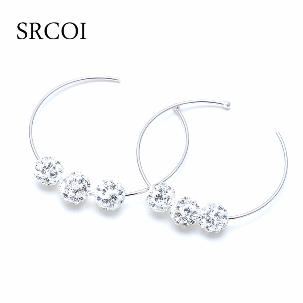 Fashion Basketball Wives Earrings Hoops In 925 Sterling Silver  Hypoallergenic Large Round Circle With Rhinestone Hoop Earrings