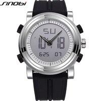 SINOBI Sports Chronograph Men S Wrist Watches Digital Quartz 2 Movement Waterproof Diving Watchband Top Luxury