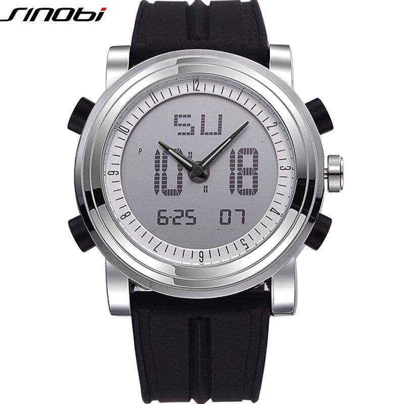 Новый бренд Sinobi Спортивный Хронограф Для мужчин наручные Часы цифровой кварц двойное движение Водонепроницаемый Дайвинг ремешок мужчины ч…