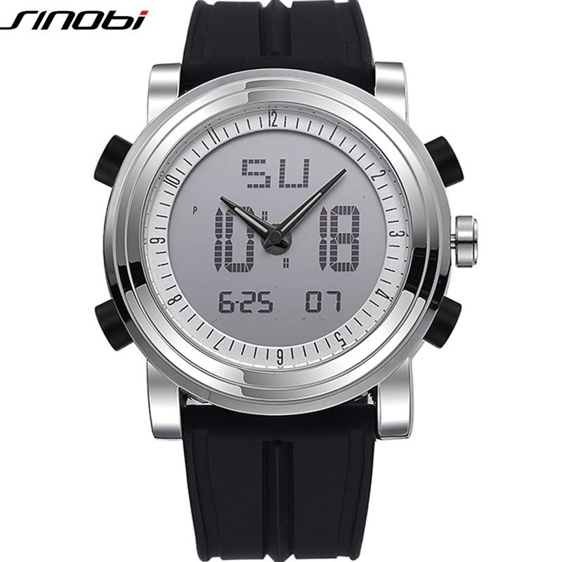 Новий бренд SINOBI Спортивний хронограф Чоловічі наручні годинники Цифровий кварцовий подвійний рух водонепроникний водолазний ремешок для годинника чоловічі годинник