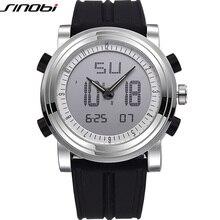 Купить с кэшбэком SINOBI Sports Chronograph Men's Wrist Watches Digital Quartz 2 Movement Waterproof Diving Watchband Top Luxury Brand Males Clock