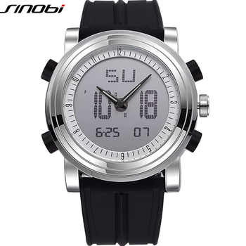 New SINOBI brand Sports Chronograph Men's Wrist Watches Digital Quartz double Movement Waterproof Diving Watchband Males Clock - DISCOUNT ITEM  50% OFF All Category