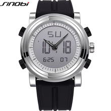 New SINOBI brand Sports Chronograph Men's Wrist Watches Digital Quartz double Mo