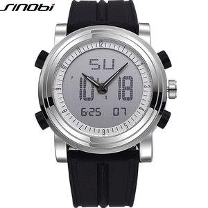 Nieuwe Sinobi Merk Sport Chronograaf Heren Horloges Digitale Quartz Dubbele Beweging Waterdichte Duiken Horlogeband Mannetjes Klok