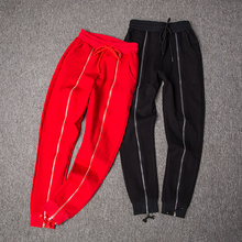 ФОТО 2018 spring new vogue women ladies cotton chinese red fake zippers stripe harem pants femme rouge trend casual joggers pantalon