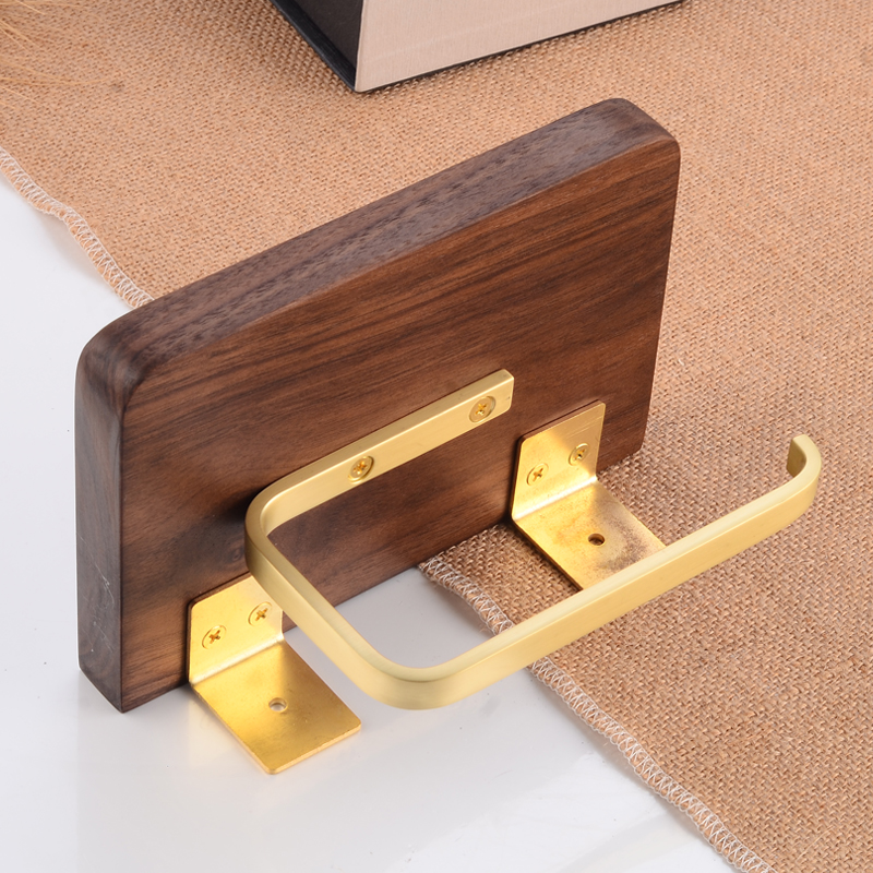 Toilet Paper Holder with Shelf Wood Brass Paper Towel Holder Wall Mounted Bathroom Tissue Roll Paper Holder Phone Rack Decorate in Paper Holders from Home Improvement