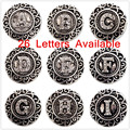 Interchangeable Ginger snaps Jewelry Accessory With Crystal Alphabet Metal Letter Buttons Snap Jewelry Free Shipping MDB18-22