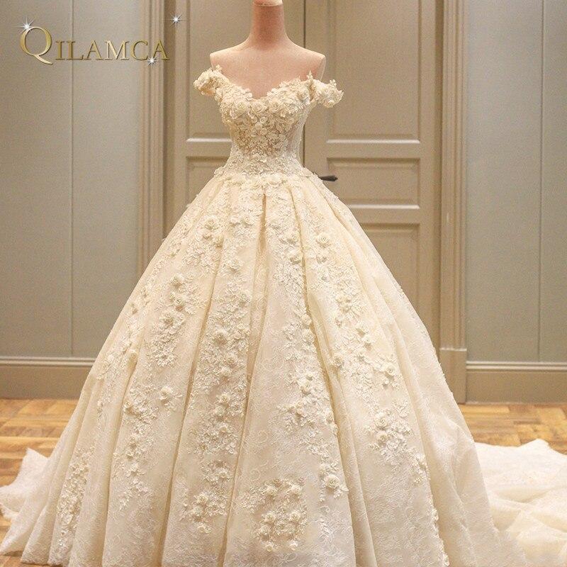 Настоящая принцесса свадебное платье 2018 с открытыми плечами Weddding Платья для женщин; Robe De Mariage аппликации Кружево с цветком свадебные платья
