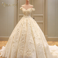 Princess Real Wedding Dress 2018 Off Shoulder Weddding Dresses Robe De Mariage Appliques Lace with Flower Wedding Gowns