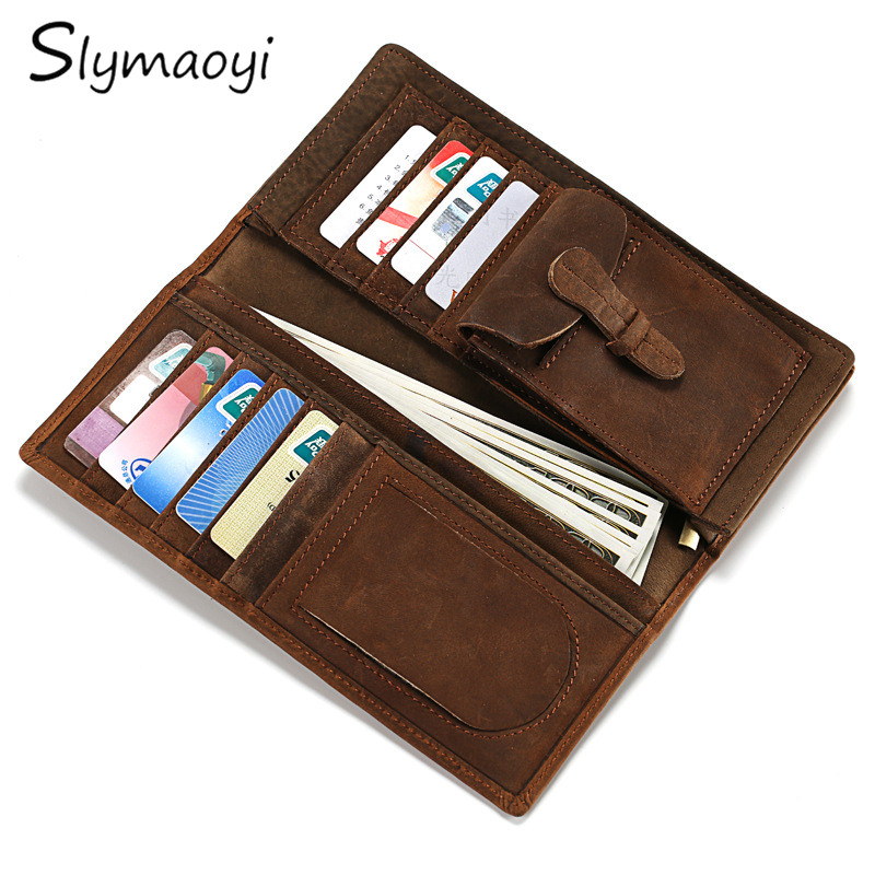 Slymaoyi Vintage Crazy Horse Handmade Leather Men Wallets Multi-Functional Cowhide Coin Purse Genuine Leather Wallet gathersun the secret life of walter mitty retro wallet handmade custom vintage genuine wallet crazy horse leather men s purse