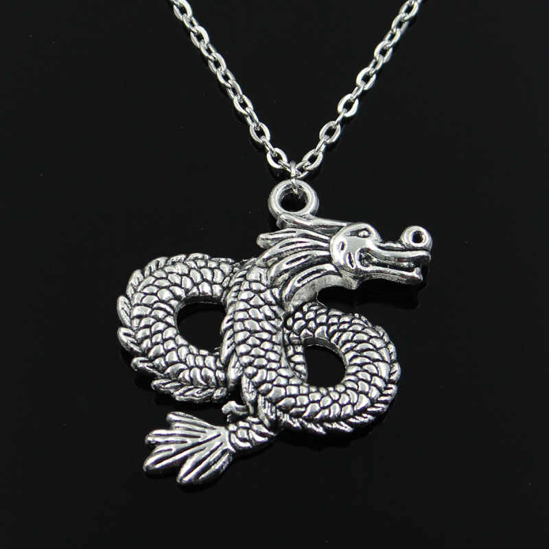 new fashion China loong dragon Pendants round cross chain short long Mens Womens silver necklace Jewelry Gift