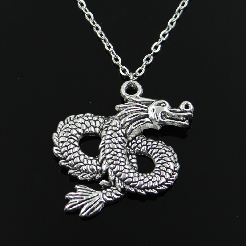 New Fashion China Loong Dragon Pendants Round Cross Chain Short Long Mens Womens Silver Color Necklace Jewelry Gift(China)