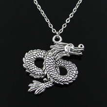 new fashion China loong dragon Pendants round cross chain short long Mens Womens silver necklace Jewelry Gift(China)