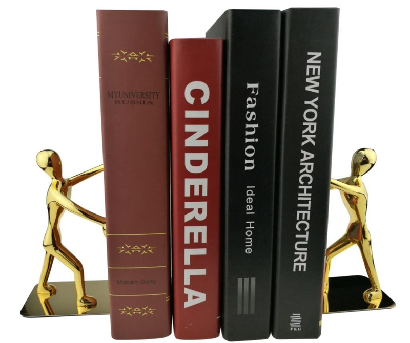 1Pair Creative Cool Bookends Metal Stainless Steel Human-shaped Decorative Book Holder Stand for Office Home Stationery цена
